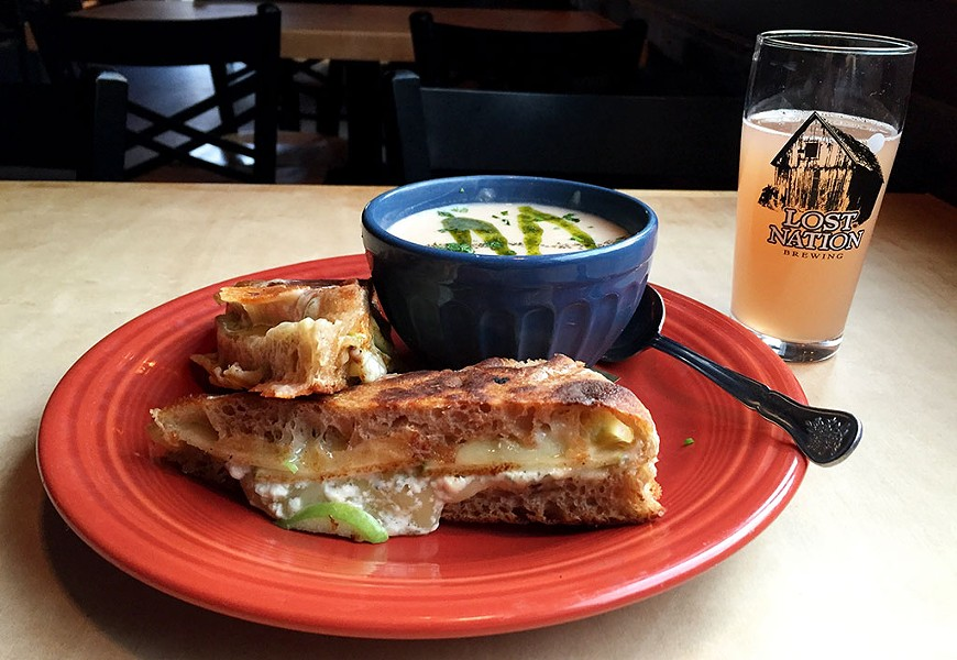 Soup, sandwich and the Wind beer at Lost Nation Brewing - SALLY POLLAK
