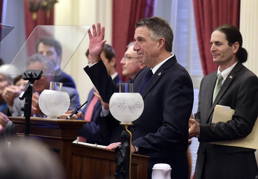 Gov. Phil Scott delivers his State of the State address Thursday at the Vermont Statehouse. - JEB WALLACE-BRODEUR