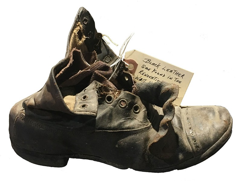 A leather shoe found during restoration of the General Wait House - SADIE WILLIAMS