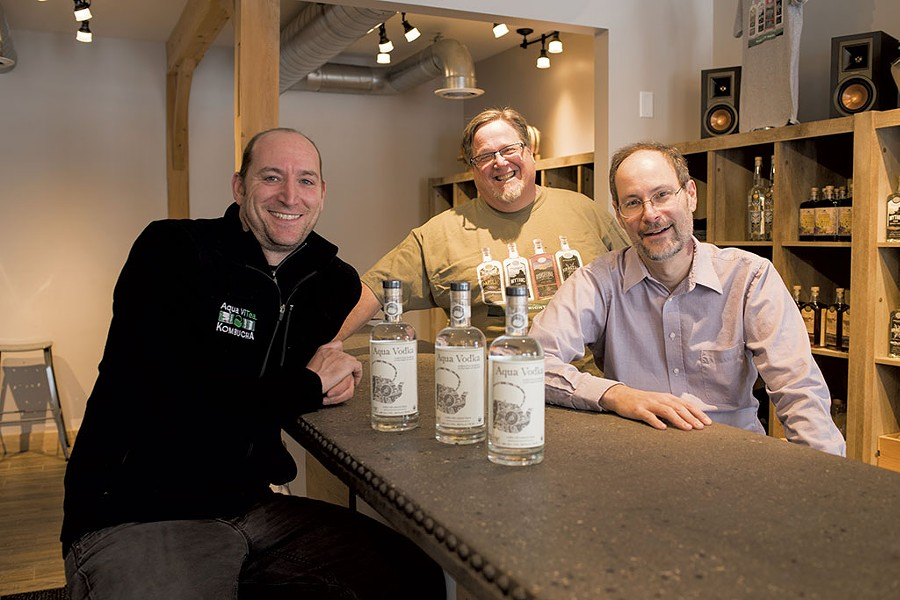 Left to right: Aqua ViTea Kombucha founder Jeff Weaber and Appalachian Gap Distillery owners Lars Hubbard and Chuck Burkins - CALEB KENNA
