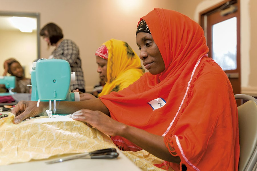 Hasna Said practicing her sewing - PHOTOS: OLIVER PARINI