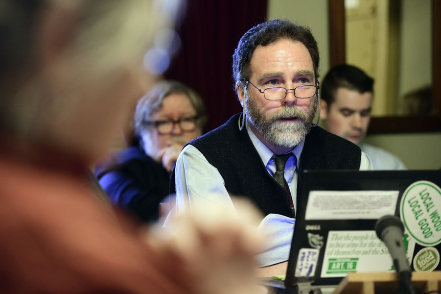 Bill Moore of the Vermont Traditions Coalition testifies before the Senate Judiciary Committee on Thursday. - FILE: JEB WALLACE-BRODEUR