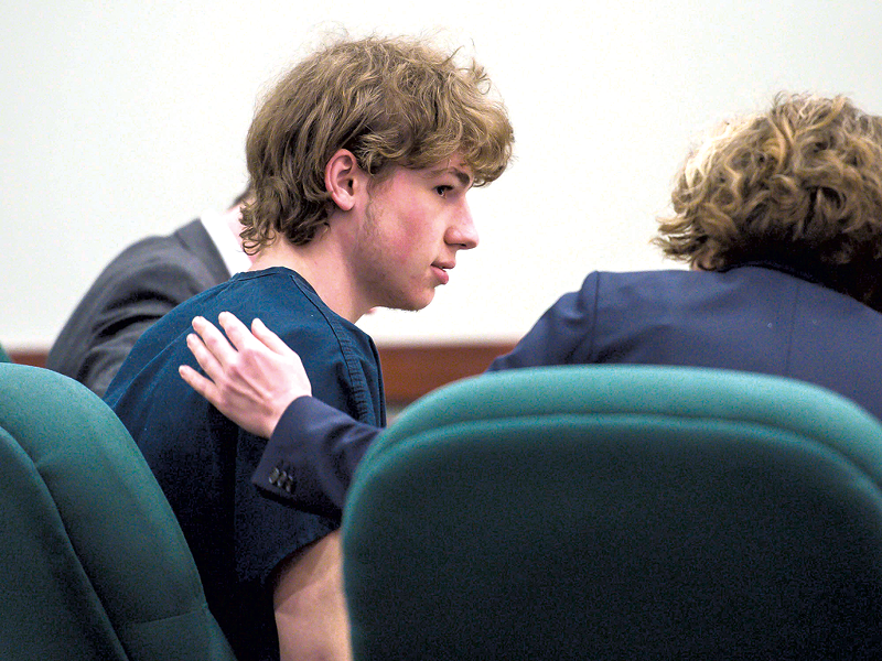 Jack Sawyer with defense attorney Kelly Green in court - POOL PHOTO: GLENN RUSSELL / THE BURLINGTON FREE PRESS