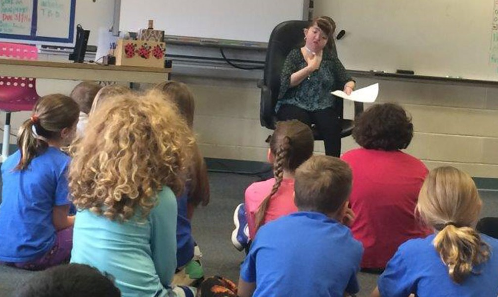 Molly Thompson speaking at a local school - COURTESY OF MOLLY THOMPSON