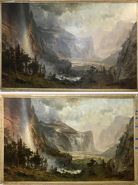 "Before (top) and after (bottom) pictures of ""Domes of the Yosemite"" depicting the painting's transformation - ST. JOHNSBURY ATHENAEUM"