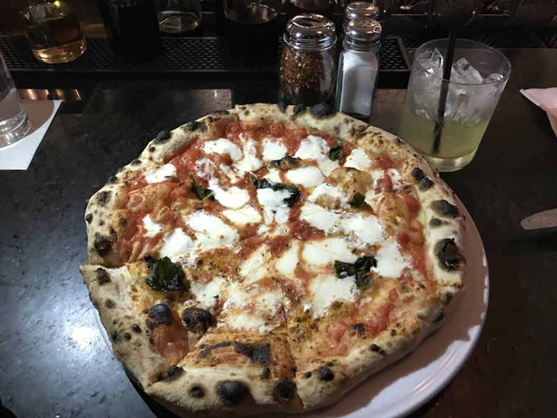 Margherita pizza and margarita drink at Pizzeria Verità - SALLY POLLAK