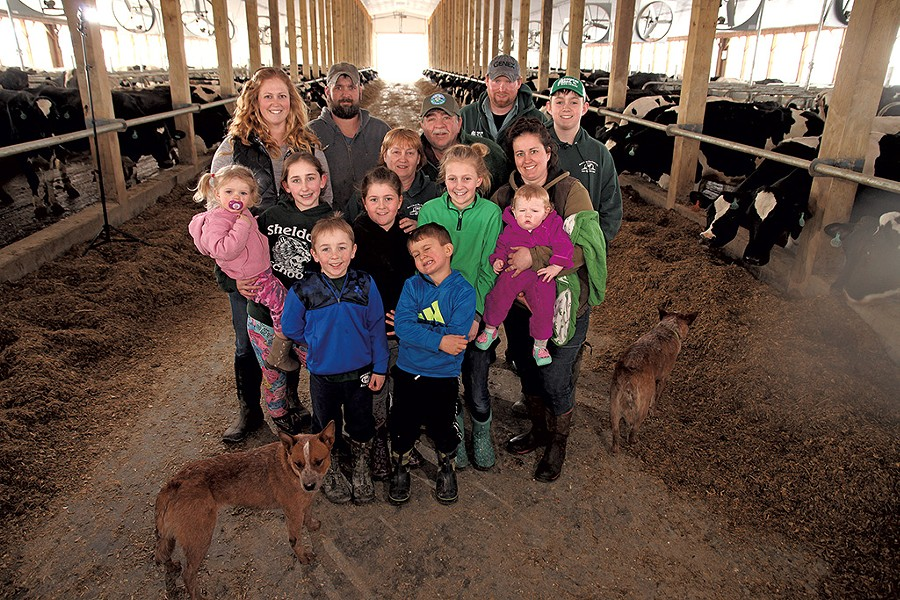 Nancy and Tom Kane (center) with family on their Sheldon farm - MATTHEW THORSEN