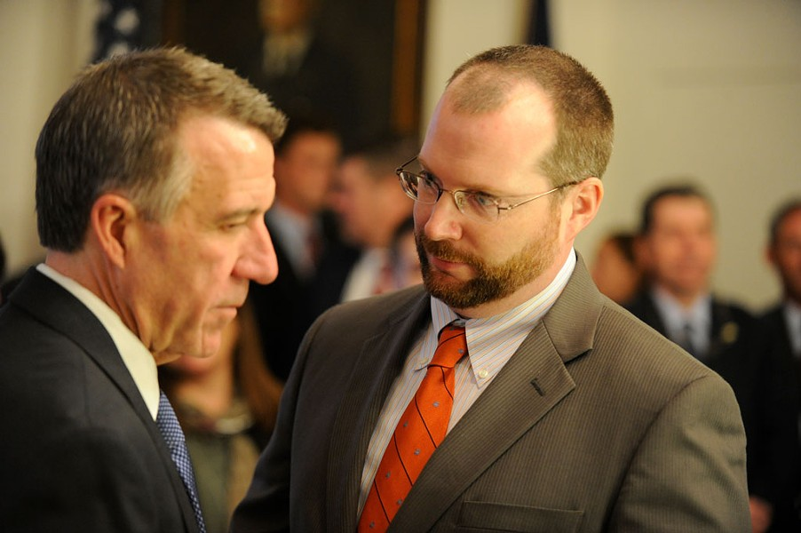 Gov. Phil Scott (left) and his chief of staff Jason Gibbs - JEB WALLACE-BRODEUR