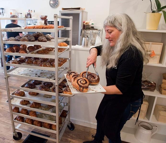 Jodi DeGuzman gathers some chocolate swirls - JEB WALLACE-BRODEUR