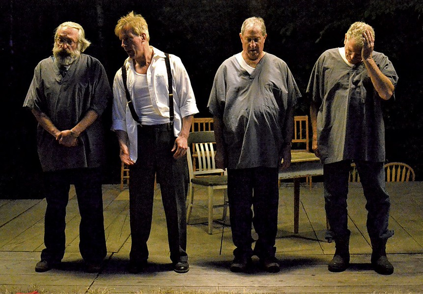 The cast of It Can't Happen Here, from left: Gene Kraus, Peter Mendes, Tom Beck and Larry Fuller