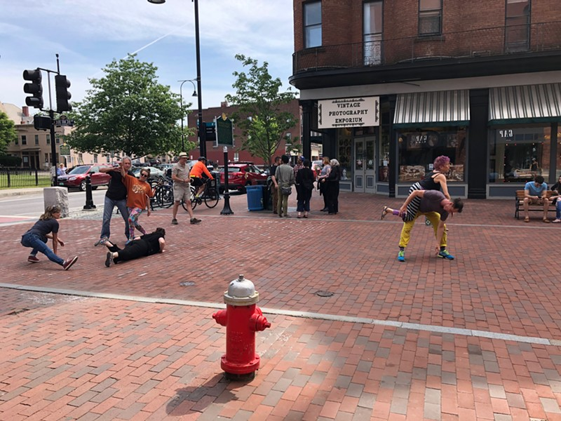 """Dancers kicking off """"Traces"""" at the top of Church Street - SADIE WILLIAMS"""