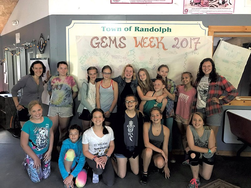 Seven Days staff writer Katie Jickling (back row, far left) with girls in the GEMS program - COURTESY OF GEMS