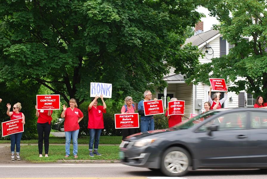 Nurses rallied for three hours outside the hospital. - SARA TABIN