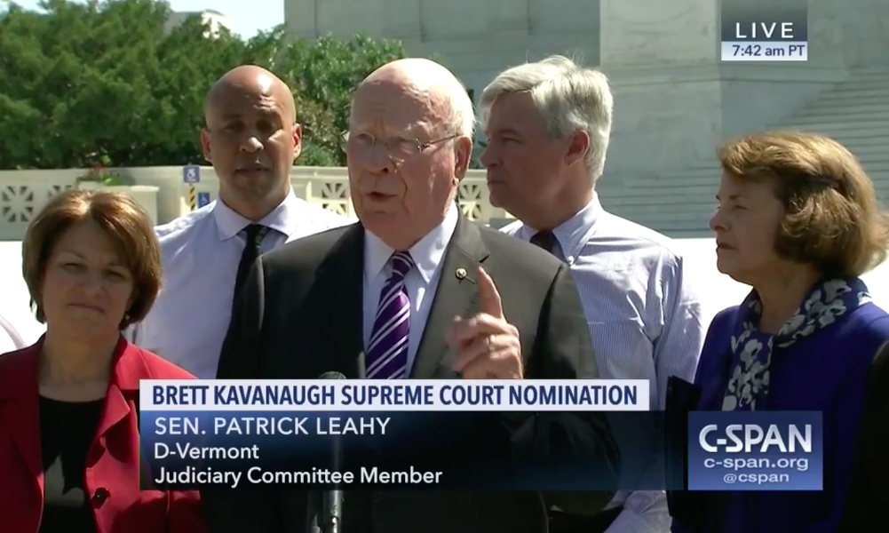Sen. Patrick Leahy and other senators discussing Brett Kavanaugh's nomination to the U.S. Supreme Court - SCREENSHOT
