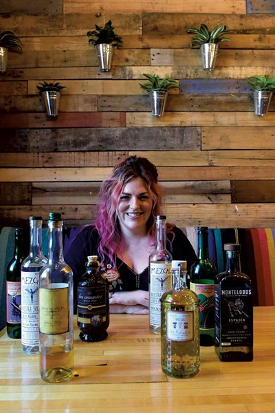 Megan Maher with mezcal at Tres Amigos - JEB WALLACE-BRODEUR