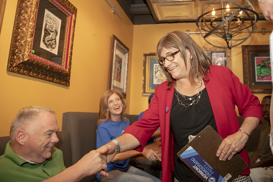 Christine Hallquist greets supporters on primary night. - FILE: JAMES BUCK