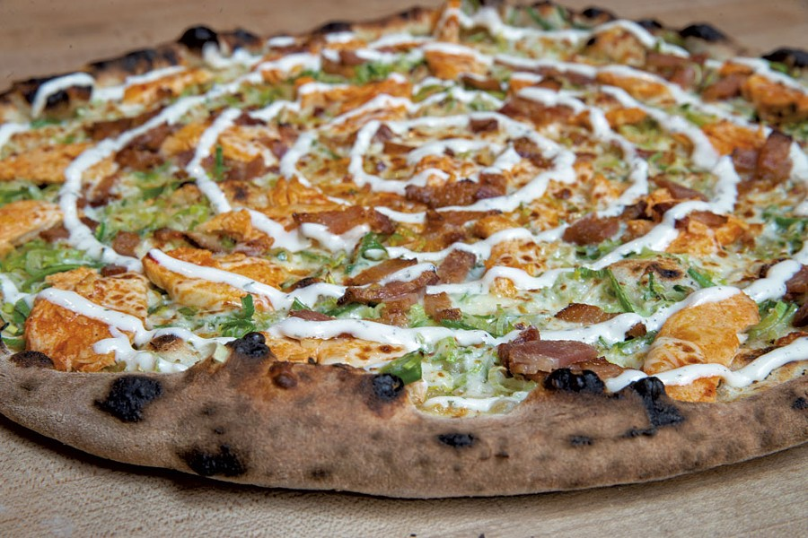 Leeky Chicken pizza at Folino's - JAMES BUCK