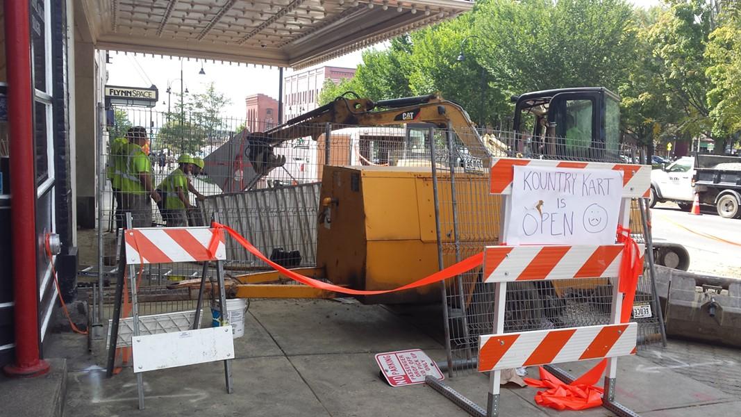 Repair work outside the Flynn Center - KYMELYA SARI