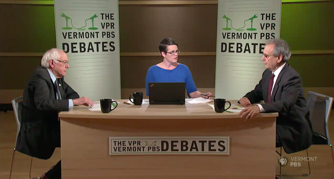 Sen. Bernie Sanders (I-Vt.) and Republican challenger Lawrence Zupan with debate moderator Jane Lindholm - SCREENSHOT