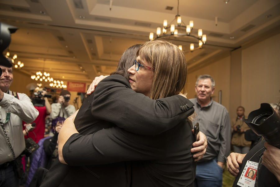 Christine Hallquist hugs a supporter. - JAMES BUCK
