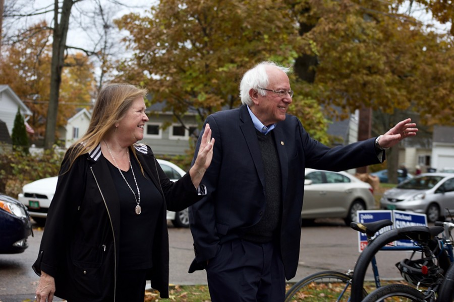 Sen. Bernie Sanders and his wife, Jane O'Meara Sanders, arrive to vote in Burlington. - SOPHIE MACMILLAN