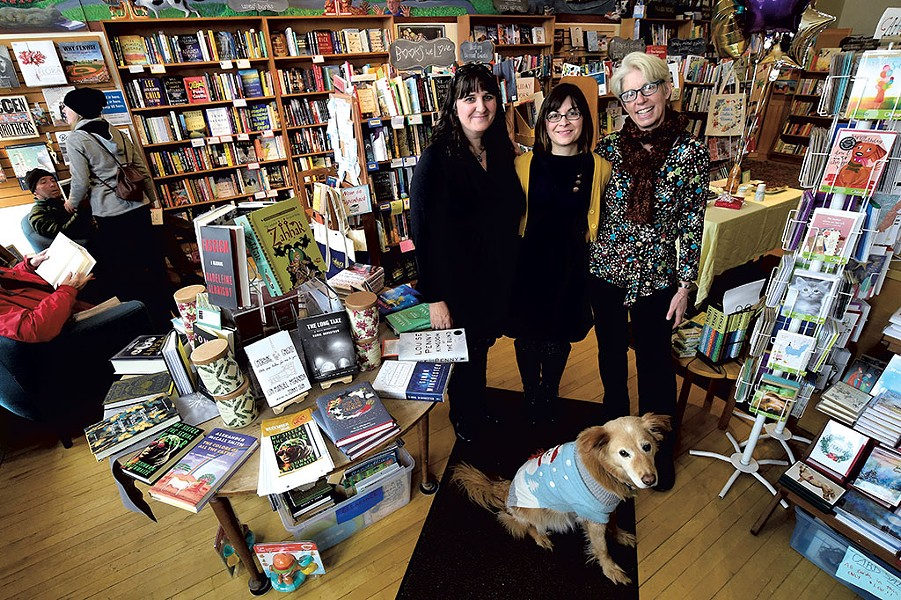 From left: Andrea Jones, Sandy Scott and Linda Ramsdell with canine staffer Boo at Galaxy Bookshop - JEB WALLACE-BRODEUR