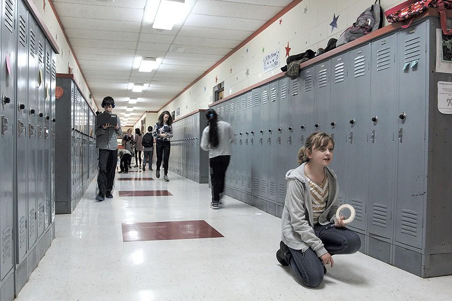 Bailey Boardman in the Chelsea Public School hallway - DYLAN KELLEY