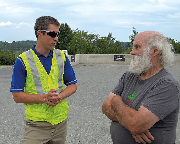 Landfill general manager Jeremy Labbe - (left) speaking with Chris Jacobs - FILE: MOLLY WALSH