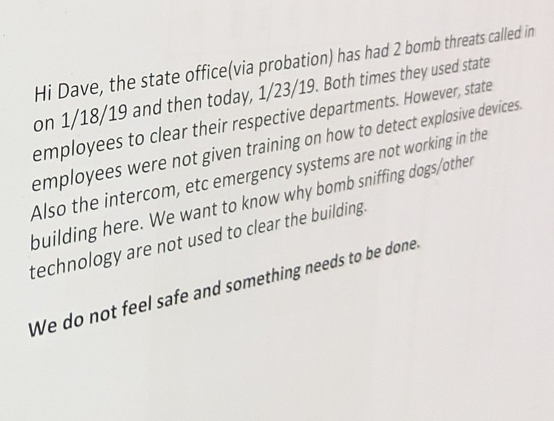 An unsigned letter from state workers in Springfield - TAYLOR DOBBS