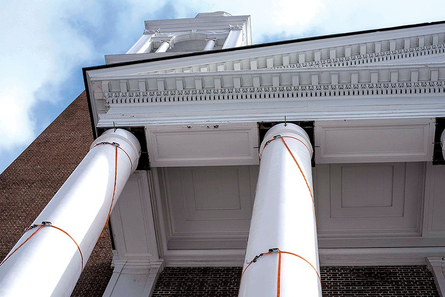 New pillars being installed at Ira Allen Chapel - GLENN RUSSELL