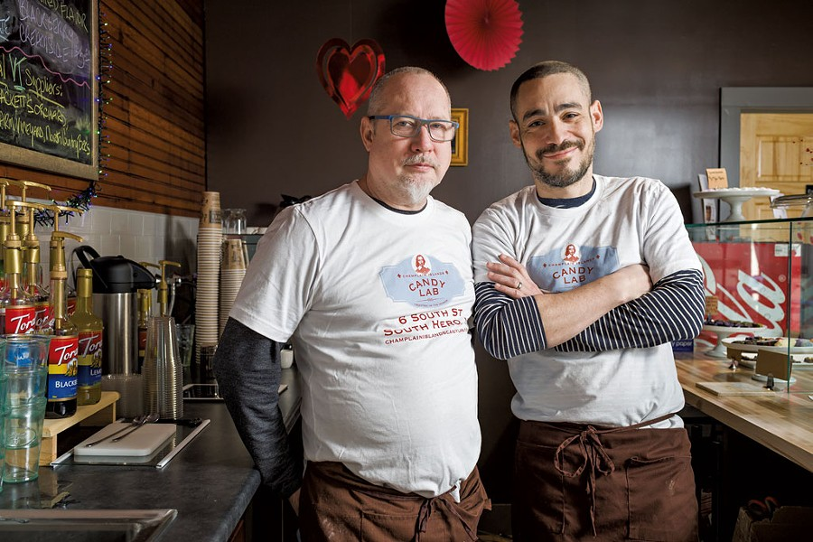 Champlain Islands Candy Lab co-owners Michael McCarver-Reyes (left) and Albert Reyes-McCarver - OLIVER PARINI