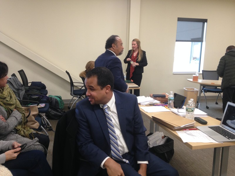 Mario Macias turns to speak with family members at a licensing hearing in December in Barre. - FILE: MOLLY WALSH