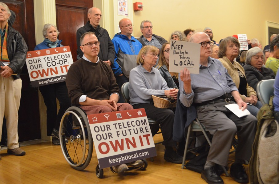 Burlingtonians show support for Keep BT Local at a city council meeting. - FILE: KATIE JICKLING
