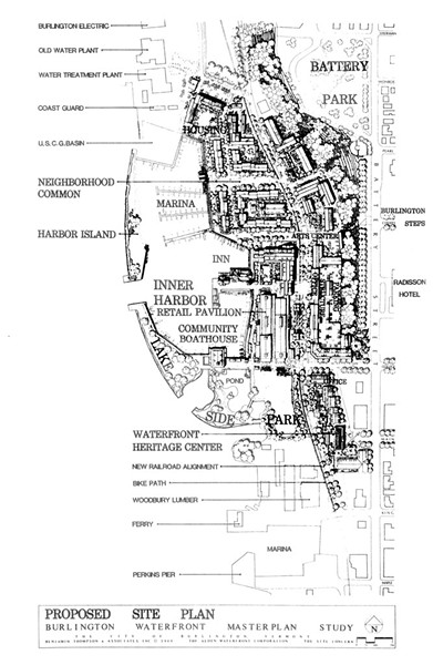 A rendering shows the 1980s waterfront development proposal known as the Alden Plan. - SOURCE: BURLINGTON DEPARTMENT OF PLANNING AND ZONING