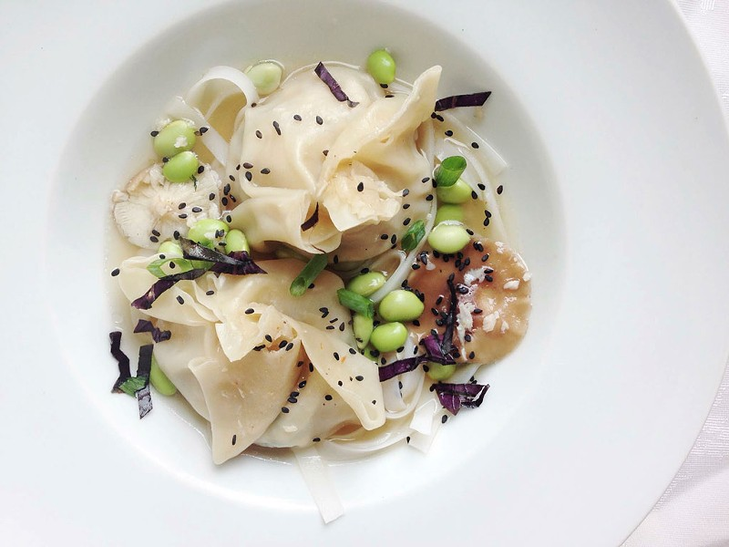 Chicken dumplings with shiitake and edamame - COURTESY OF CHIP NATVIG