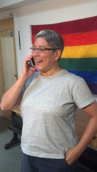 Kim Fountain preparing to talk to reporters at Pride Center of Vermont. - MATTHEW ROY