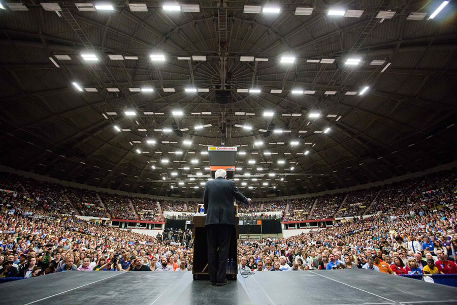 Sen. Bernie Sanders speaks Wednesday night at the Veterans Memorial Coliseum in Madison, Wis. - ERIC TADSEN