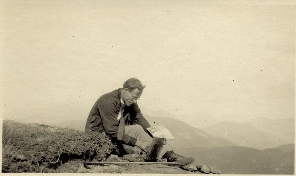 Harold Weston working with paint box - COURTESY OF THE HAROLD WESTON FOUNDATION