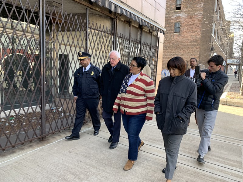 Sen. Bernie Sanders campaigning Saturday in Gary, Indiana - PAUL HEINTZ