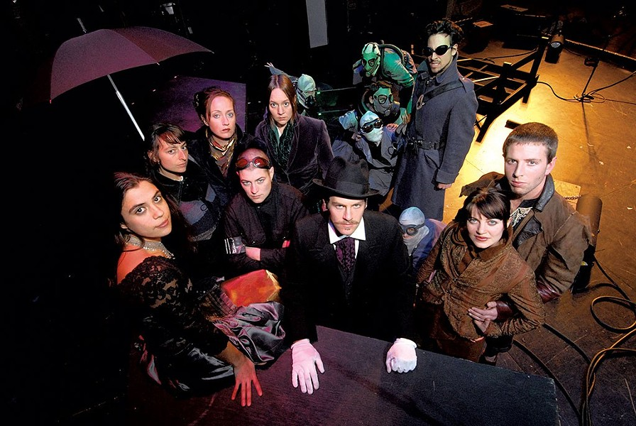 2007 'Hadestown' cast, left to right: Miriam Bernardo, Sarah-Dawn Albini, Lisa Raatikainen, Sara Grace, Nessa Rabin, David Symons, Ben t. Matchstick, Anaîs Mitchell, Ben Campbell - FILE: JEB WALLACE-BRODEUR