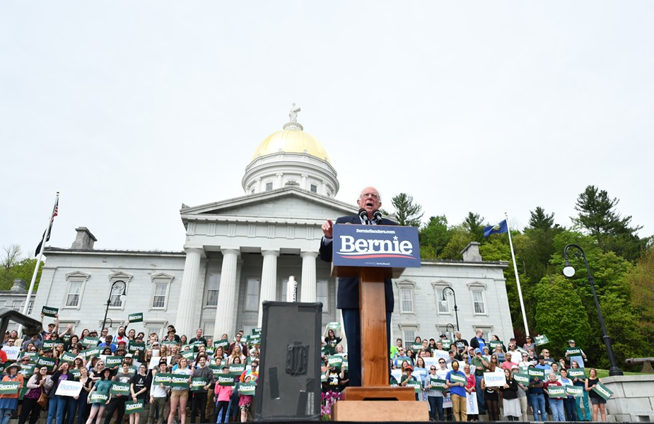 Sen. Bernie Sanders addressing the crowd Saturday - STEFAN HARD