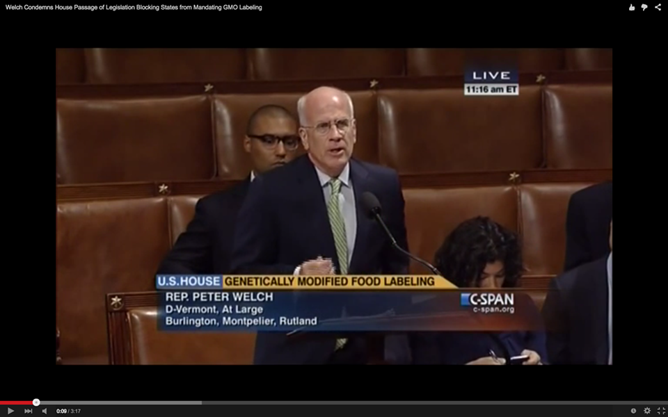 Rep. Peter Welch (D-Vt.) speaks Thursday on the House floor against a bill that would block states from enacting GMO labeling laws. - SCREENSHOT
