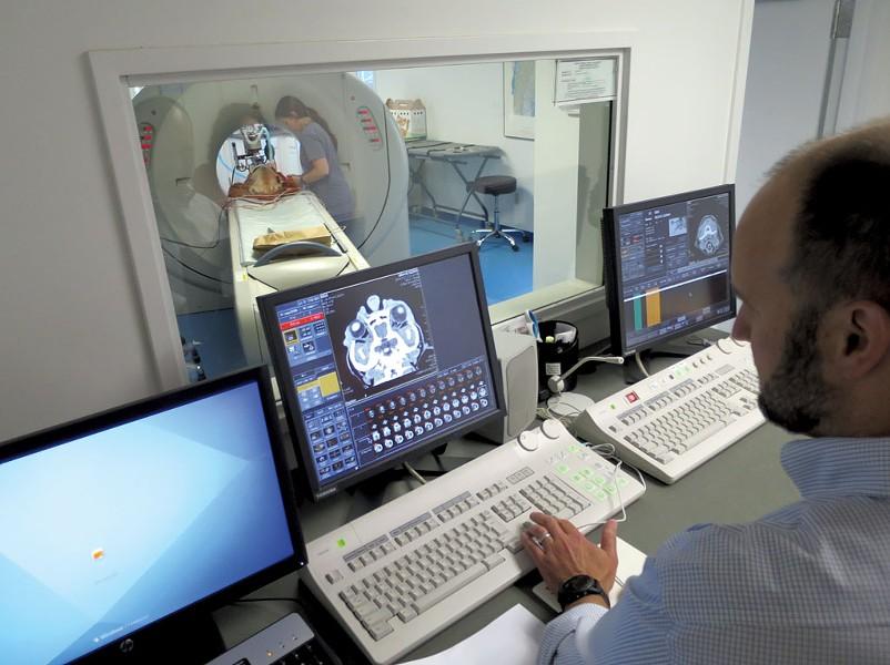 Dr. Bryan Harnett reading Gizmo's scan - MATTHEW THORSEN