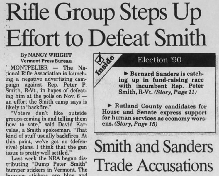 An October 26, 1990, account of the NRA's efforts to defeat Peter Smith - RUTLAND HERALD