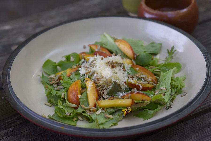Salad with nectarines, gouda and sunflower seeds - PHOTO COURTESY OF SUZANNE PODHAIZER