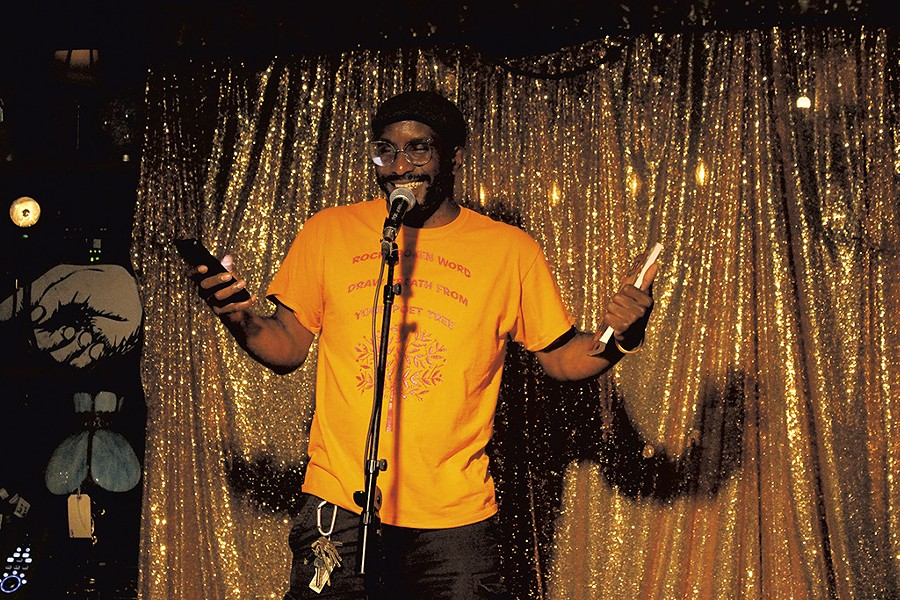 Rajnii Eddins performing during Lit Club at the Light Club Lamp Shop - COURTESY OF BRIDGET HIGDON