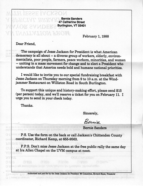 Invitation from Burlington Mayor Bernie Sanders to a Jesse Jackson fundraiser - BERNARD SANDERS PAPERS, SPECIAL COLLECTIONS, UNIVERSITY OF VERMONT LIBRARY