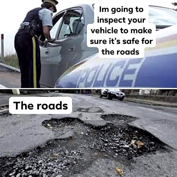 Meme commenting on the state of Vermont roads - COURTESY OF VERMONT DEPARTMENT OF MEMES