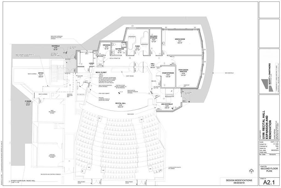 UVM Recital Hall, proposed second-floor plan - COURTESY OF SCOTT + PARTNERS ARCHITECTURE