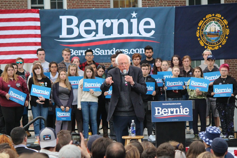 Sen. Bernie Sanders campaigns at the University of New Hampshire on Monday. - PAUL HEINTZ